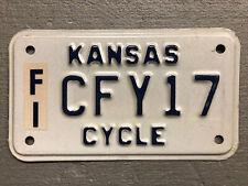 VINTAGE KANSAS MOTORCYCLE LICENSE PLATE WHITE/BLUE CFY17 NICE!!!