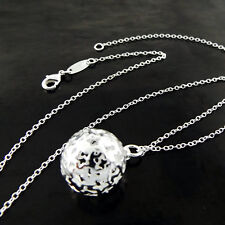 Necklace Chain Real 925 Sterling Silver S/F Celtic Design Bead Ball Pendant