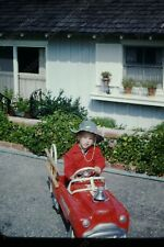 1954 boy on fire truck pedal car kodak red border  35mm slide Hy19