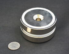"1 GIANT POT MAGNET 357lb/162lb PULL FORCE 3"" x 3/4 75x18mm N35 nickel, US SELLER"