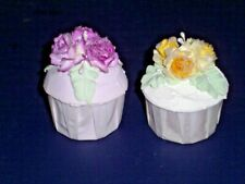 Faux CUPCAKES Fake Food Gorgeous Pastel Yellow Violet Roses iridescent sprinkles