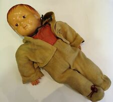 58cm Tall Antique Ultra Rare Old Toy 1900's Celluloid Straw Boy Doll Collection