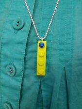 "Green Lego Brick Rhinestone Necklace Silver Plated Military Chain 19"" 48.5CM"
