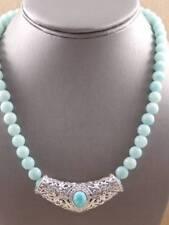 "Gem Insider® Amazonite Sterling Silver Slide Pendant & 18"" Bead Necklace"