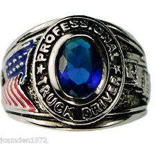 TRUCKER USA Mens Pinkie ring Ladies Blue Sapphire Platinum overlay size 6