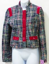 Kenzie Girl juniors Medium multi color plaid jacket coat woven NWT