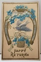 Happy Returns Bird Horseshoe Heavy Embossed Airbrushed Postcard D19