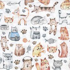 3 Lunch Papier Servietten Napkins (87-3) jede Menge Katzen