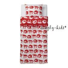 Barnslig Ulven Ikea Duvet Cover Pillowcase Twin Bedding Wolf Bear Kids Red White