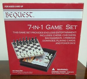 New - Bequest 7 In 1 Game Set Box Chess Checkers Dominoes & More