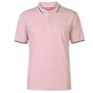 NEW Slazenger TIPPED Men's Cotton Polo Shirt Tennis Golf  M-4XL Light Pink
