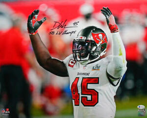 Devin White Signed Buccaneers 16x20 Arms Up Photo W/ Insc-  Beckett W Auth *Blac