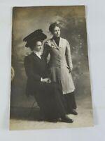 """Vintage Real Photo Post Card 2 Dressed Up Ladies 1 in """"Super Hat"""" Karbo 1910's?"""