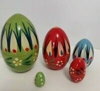 Russian Nesting eggs Lacquered Hand Painted One of a Kind Wooden Egg set of 5