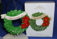 Hallmark Christmas Ornament Feliz Navidad 2012 Wreath with Poinsettias NIB