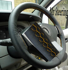 FITS FIAT SCUDO 2007+ REAL ITALIAN LEATHER STEERING WHEEL COVER YELLOW STITCHING