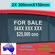 2x FOR SALE Sticker with your Phone No & car Price 300mm CAR Window Custom Vinyl