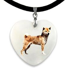 Shiba Inu Dog Natural Mother Of Pearl Heart Pendant Necklace Chain PP258