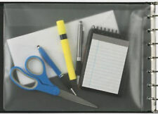 "Black Vinyl Pocket for 3 on a Page 7 Ring Check Binders 13 x 9 1/2"" Organizer"