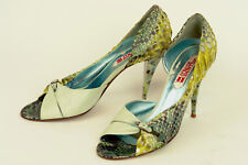GUILLAUME HINFRAY * EXQUISITE OPEN-TOE HEEL IN MULTI-COLOR PYTHON * 39 * XCLNT