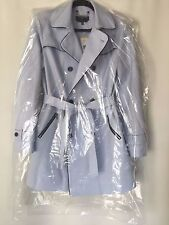 NEW Jones New York Double Breasted Belted Trench Coat Women's Light Blue Size M