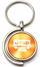 Orange Jeep Grille Logo Brushed Metal Round Spinner Chrome Key Chain Spin Ring