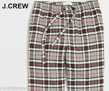 New J.CREW pajama pants L flannel grey red black fleece nr check plaid lounge L