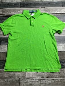 Ralph Lauren Polo Shirt Adult XL Green Pink Pony Slim Fit Rugby Mens