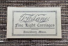 LIKE NEW VERY RARE T. W. Lane Fine Light Carriages Pamphlet: Amesbury, Mass