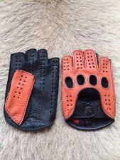 Herren Autohandschuhe Fingerlose Hirschleder Lederhandschuhe Schwarz Weiß