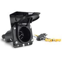 4 Way to 7 Way Blade Wiring Adapter Round Hitch Plug & Bracket For RV Trailer