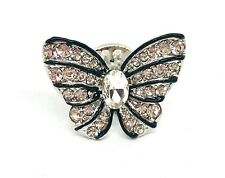 Small Sparkly Crystal Silver Butterfly Brooch