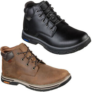 Skechers Leather Ankle Boots Mens Durable Lace Up Memory Foam Winter Shoes
