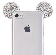 For iPhone 8 - Silver Diamond Bling Mickey Mouse Ears TPU Rubber Skin Case Cover