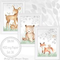Babyzimmer Bilder Kinderzimmer Bilder Wald Tiere Fuchs, Reh, Bär Bild A4 |SET 36