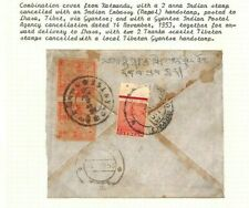 INDIA MIXED FRANKING TIBET Primitive Issue Cover 1953 ex Asia Collection Ap484