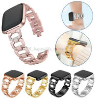 Lady Bling Rhinestone Stainless Steel Watch Wrist Band Strap For Fitbit Versa US