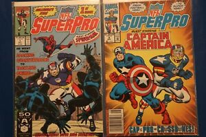 NFL SuperPro 1991 #1 (w/Spider-Man) & #5 (w/Capt. America) Sports Football Comic