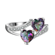 Mystic Rainbow Topaz Double Heart Fire Opal Wedding Ring 925 Silver Jewelry Gift