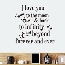 I LOVE YOU to the moon indietro Murale Decalcomania Citazione Muro Adesivo Decor Carta Nero Regno Unito