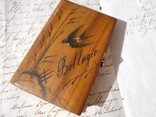 Ancien carnet en bois souvenir Bellagio décor hirondelle marqueterie