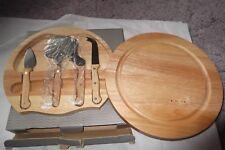 4 pieza conjunto de cuchillos de queso Placa de almacenamiento superior Giratoria De Madera. nuevo Y Sellado