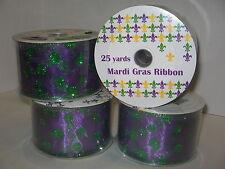 """Mardi Gras Wired Ribbon 2.5"""" x 25 yard rolls Lot of 4  Purple w/ green Dots New"""