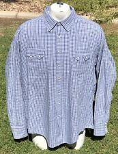 Rockmount Diamond Pearl Snap Sawtooth Blue Plaid Western Shirt Mens Sz XXL