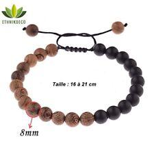 Bracelet réglable Shamballa en bois de santal et onyx mat