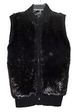 KiKit Original Black Faux Fox Fur with Stretchy Knit Back Womens Zip Vest Size L