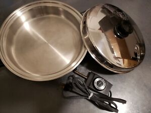 """VINTAGE SALADMASTER 7817 11"""" ELECTRIC OIL CORE SKILLET WITH VAPO LID and cord"""
