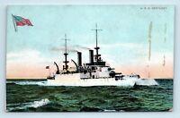 EARLY 1900s VIEW OF USS KENTUCKY NAVY BATTLESHIP - POSTCARD - K4