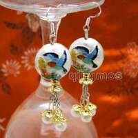 SALE 18mm White Round Cloisonne & 6-7mm White Natural Pearl Dangle earring-ea595