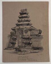 Original 1961 ink drawing JAVA, Yogyakarta, palace entrance